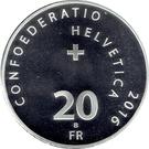 20 Francs (Gottardo tunnel) – reverse