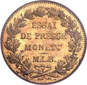 2 Francs (Brass; pattern) – reverse