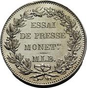 2 Francs (Silver; piedfort; pattern) – reverse