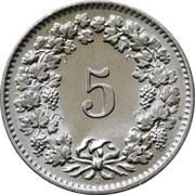 5 Rappen (non-magnetic) -  reverse