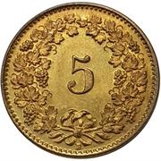 5 Rappen (Libertas; brass) -  reverse