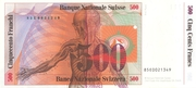 500 Francs (7th series, reserve banknote) – reverse