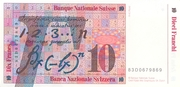 10 Francs (7th series, reserve banknote) – reverse