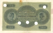 500 Francs (1st series) – reverse