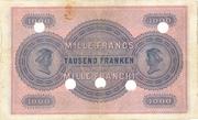 1000 Francs (1st series) – reverse
