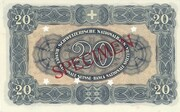 20 Francs (3rd series, reserve banknote) – reverse