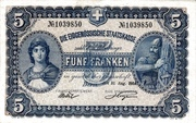 5 Francs - Federal Treasury (in German) – obverse