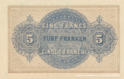 5 Francs - Federal Treasury (in French) – reverse
