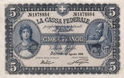 5 Francs - Federal Treasury (In Italian) – obverse