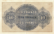 10 Francs - Federal Treasury (in German) – reverse