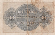 10 Francs - Federal Treasury (in French) – reverse
