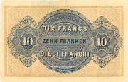 10 Francs - Federal Treasury (in Italian) – reverse