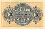 10 Francs - Federal Treasury (in Italian) – reverse