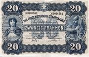 20 Francs - Federal Treasury (German text) – obverse