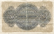 20 Francs - Federal Treasury (in German) -  reverse