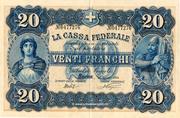 20 Francs - Federal Treasury (in Italian) -  obverse