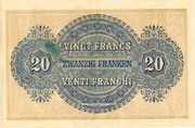 20 Francs - Federal Treasury (in Italian) – reverse