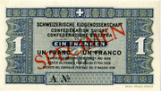 1 Franc - State Loan Bank (reserve banknote) -  obverse