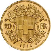 "20 Francs ""Vreneli"" (22 stars on edge) -  reverse"