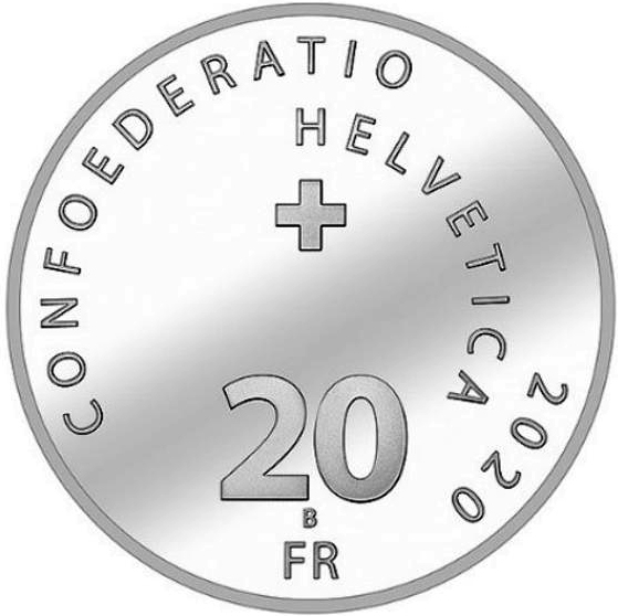 Roger Federer 20 Swiss Francs Fr Silver Coin unc Switzerland CHF commemorative