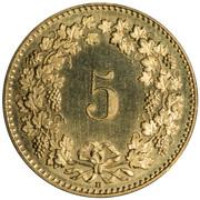 5 Rappen (Libertas; aluminium-bronze) -  reverse