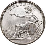 1 Franc (Helvetia seated; 80% silver) – obverse