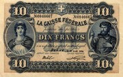 10 Francs - Federal Treasury (French text) – obverse