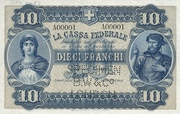 10 Francs - Federal Treasury (Italian text) – obverse
