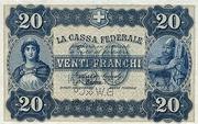 20 Francs - Federal Treasury (Italian text) – obverse