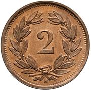 2 Rappen (bronze; heavy type) – reverse
