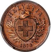 2 Rappen (bronze; light type) – obverse