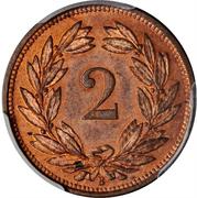 2 Rappen (bronze; light type) – reverse