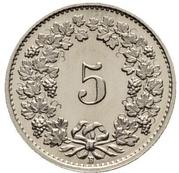 5 Rappen (Libertas; nickel) -  reverse