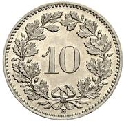 10 Rappen (Libertas; nickel) – reverse