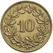 10 Rappen (Libertas; brass) – reverse