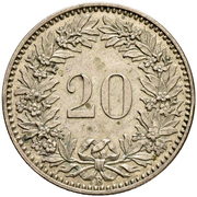20 Rappen (coat of arms; billon; trial) – reverse