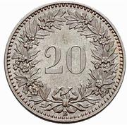 20 Rappen (Coat of arms; copper-nickel; trial) – reverse