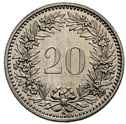 20 Rappen (Helvetia; copper-nickel; pattern) – reverse