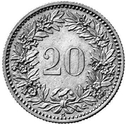 20 Rappen (Helvetia; billon; pattern) – reverse