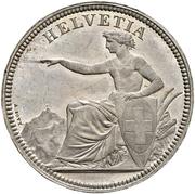 5 Francs (Helvetia seated; trial; zinc) – obverse
