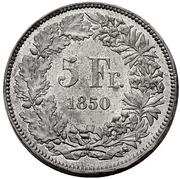5 Francs (Helvetia seated; piedfort; lead) – reverse