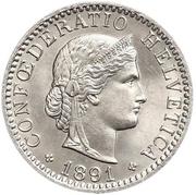 20 Rappen (Libertas; nickel) – obverse