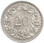 20 Rappen (Libertas; nickel) – reverse