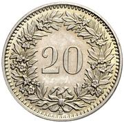 20 Rappen (Libertas; copper-nickel) -  reverse