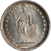 1 Franc (Helvetia standing; nickel; trial) – obverse