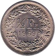 ½ Franc (Helvetia standing; copper-nickel) – reverse