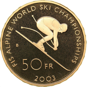 50 Francs (World Ski Championship) -  reverse