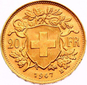 "20 Francs ""Vreneli"" (AD LEGEM ANNI MCMXXXI) -  reverse"