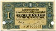 1 Franc - State Loan Bank (reserve banknote) – obverse