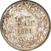 ½ Franc (Helvetia seated) – reverse